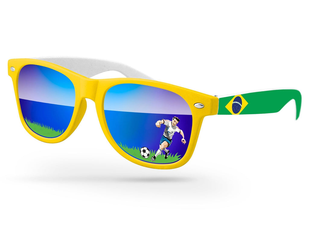 2-Tone Retro Promotional Sunglasses w/ full-color lens imprints & full-color arms heat transfer