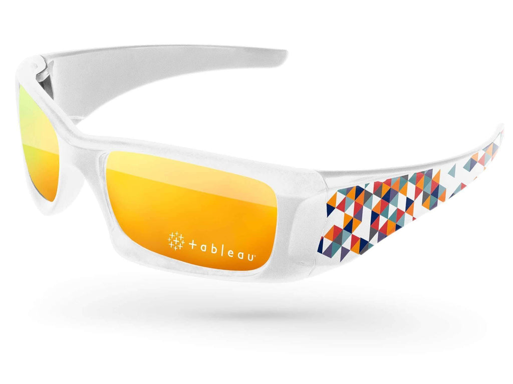 Wrap Mirror Promotional Sunglasses w/ 1-color lens imprint & full-color arms heat transfer