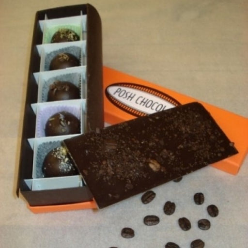 5 Piece Truffe Box With Dark Chocolate Bar With Coffee Beans