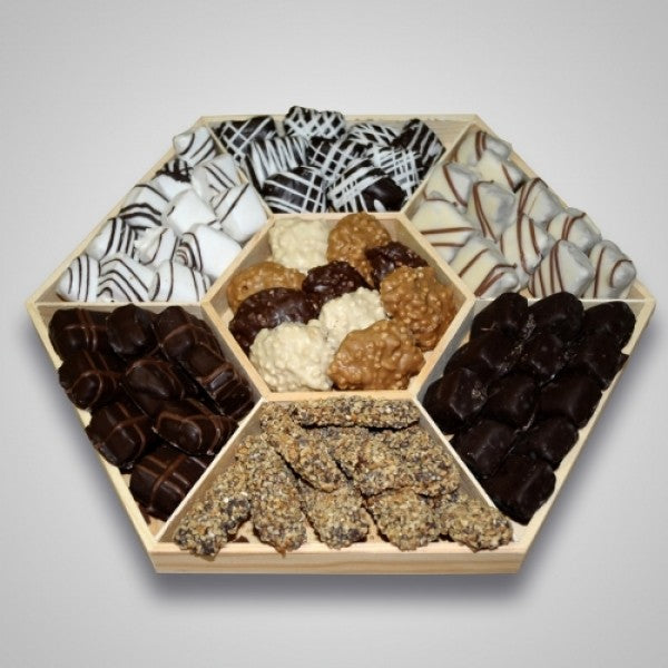 Seven Sectional Wooden Tray Chocolate Gift Basket - Chocolate.org