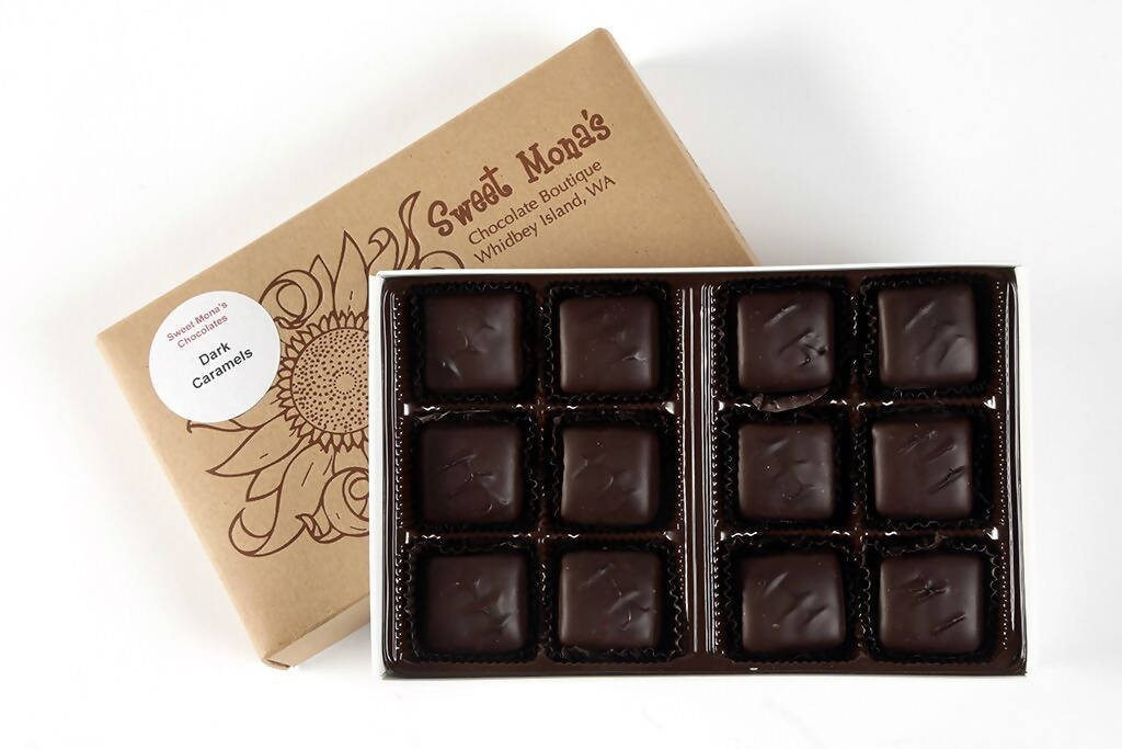 Sweet Mona's Chocolate Caramels | Small Batch, Kettle Cooked | 12-Piece Gift Box - Chocolate.org