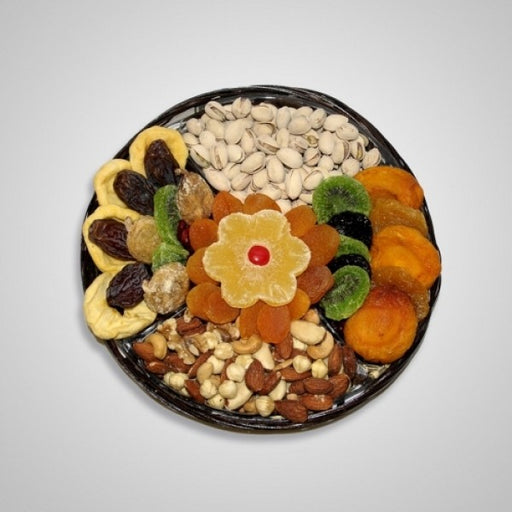 Tu B Shvat Four Section Tray Filled With Dry Fruits and Nuts - Chocolate.org