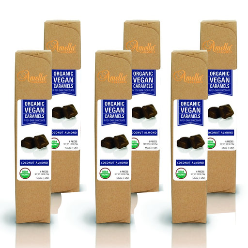 ORGANIC VEGAN COCONUT ALMOND CARAMELS IN 72% DARK CHOCOLATE, 16.8 OUNCES (6 PACKS - 6 PCS/PACK) - Chocolate.org