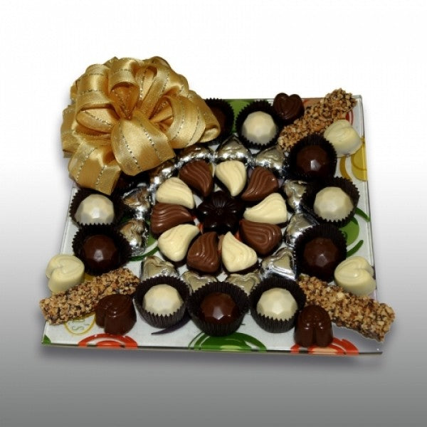 Designers Glass Tray Filled With Chocolates And Truffles - Chocolate.org