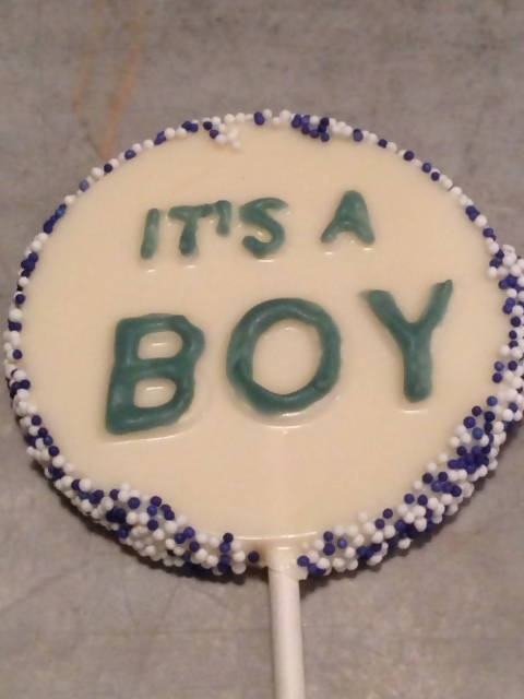 It's a Boy Lollipop Favor 12 Pieces - Chocolate.org