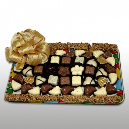 Prolonged Rectangular Glass Tray Filled With Chocolates