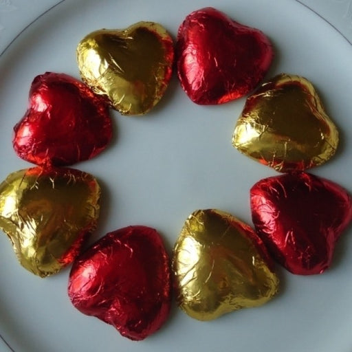 Chocolate Hearts Red Foil 1 Lb