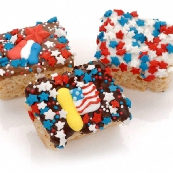 Patriotic Chocolate Dipped Mini Krispies