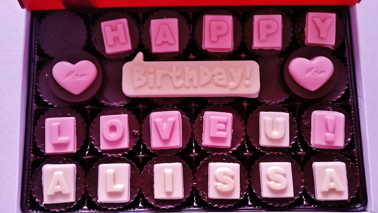 Peanut Butter Cups - Happy Birthday ! Personalized box of 24 count - Chocolate.org