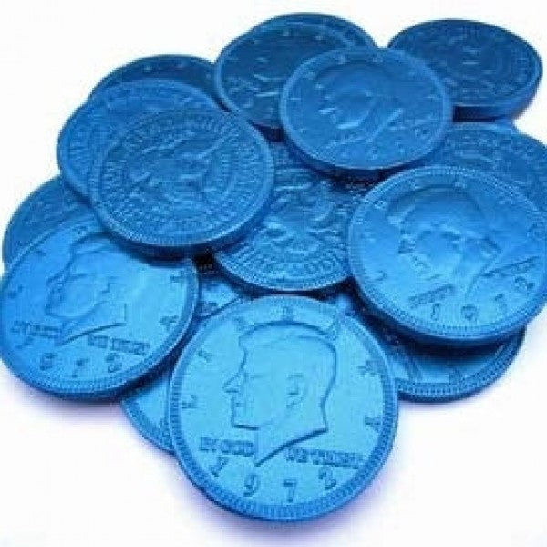 Blue Chocolate Coins 'Pack Of 160' - Chocolate.org