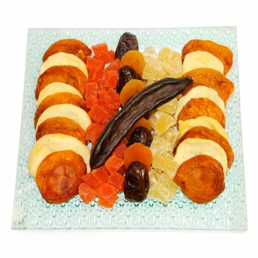 Tu B Shvat Glass Plate Filled With Dry Fruits