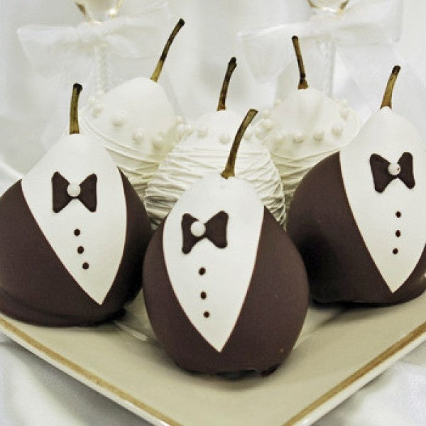 6 Wedding Pears Bride And Groom Chocolate Covered Pears Gift Box