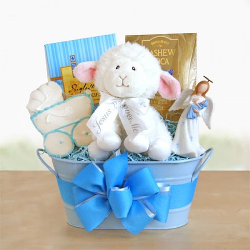 Boy Christening Blessings Gift Basket