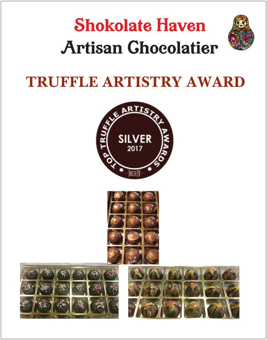 Hazelnut Bliss, Chocolate Truffle with Hazelnut Liqueur / ALL NATURAL / 15 count - Chocolate.org