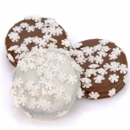 Snowflake Sprinkles Chocolate Dipped And Decorated Oreos