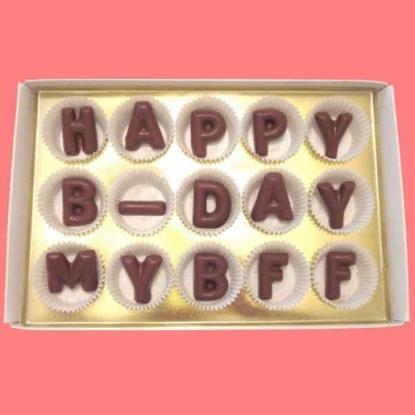 Happy B Day My BFF Large Milk Chocolate Letters Gift