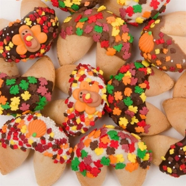Thanksgiving Dipped And Decorated Gourmet Fortune Cookies - Chocolate.org