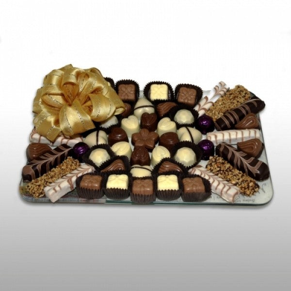 Rectangular Glass Tray Filled With Chocolates