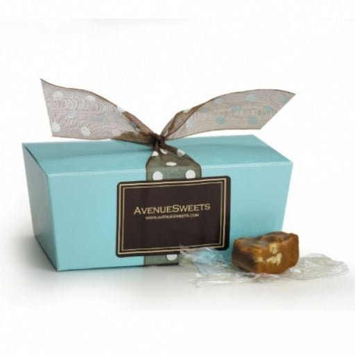 Pastel Blue Gift Box With Pecan Caramels - Chocolate.org