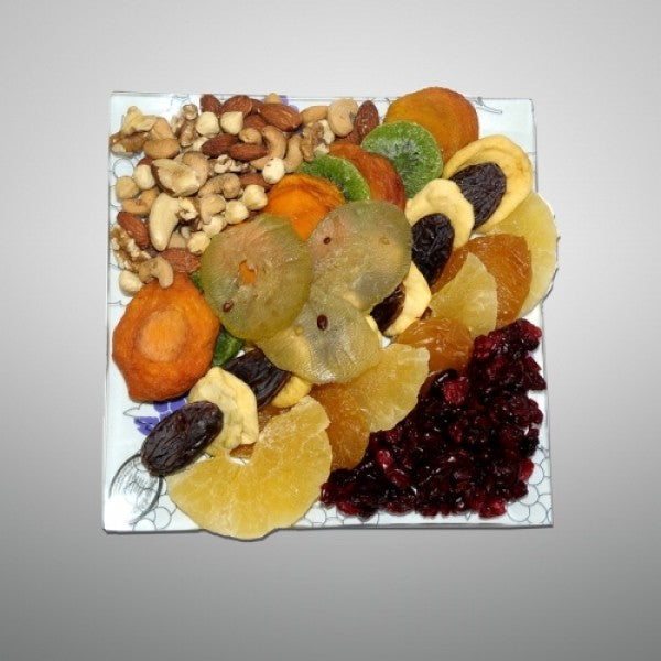 Tub Shvat White Glass Plate Filled With Dry Fruits - Chocolate.org