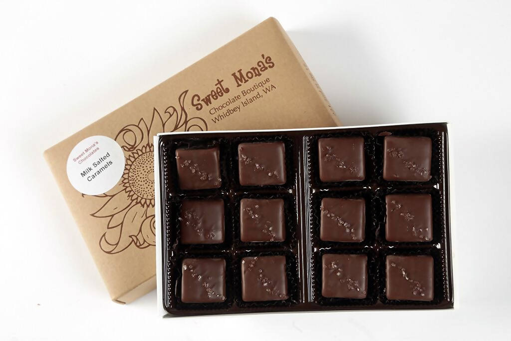 Sweet Mona's Chocolate Sea Salt Caramels | Small Batch, Kettle Cooked | 12-Piece Gift Box - Chocolate.org