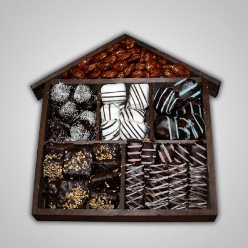House Shaped Tray Filled With Chocolates