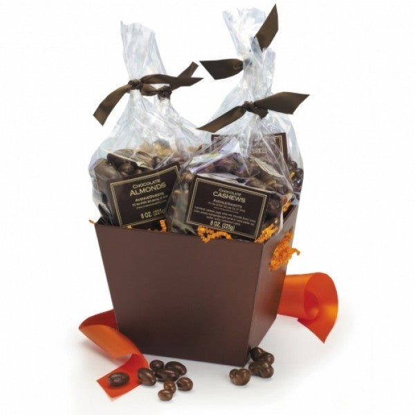 Chocolate Covered Nuts Fall Gift Bakset - Chocolate.org