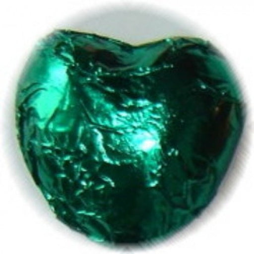 Emerald Green Chocolate Foiled Hearts 1 Lb