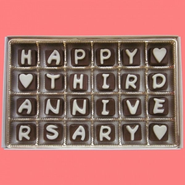 Happy Third Anniversary Cubic Chocolate Letters