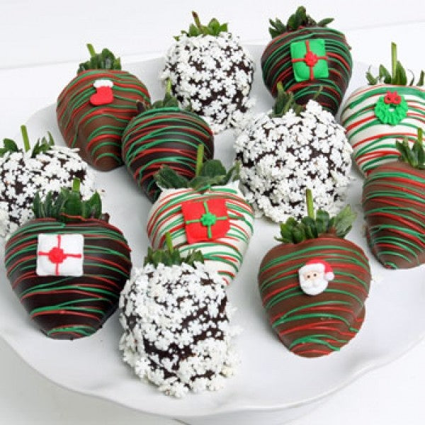 12 White Christmas Chocolate Berries With Festive Candies