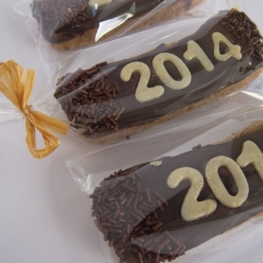 2016 New Year Party Favors Biscotti Cookie W Dark Chocolate - Chocolate.org