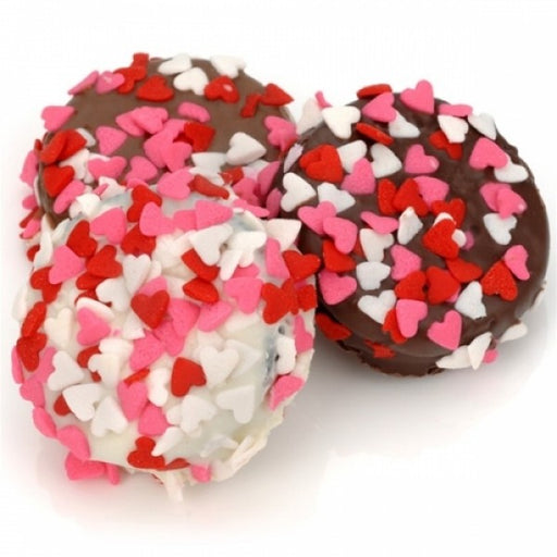 Belgian Chocolate Heart Sprinkle Valentine Oreos - Chocolate.org