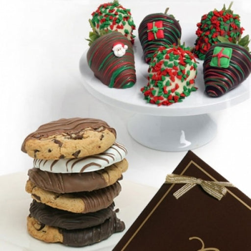 6 Christmas Chocolate Strawberries And 6 Gourmet Cookies