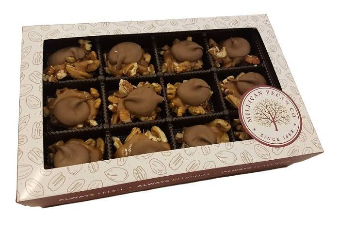Milk Chocolate Pecan Caramillicans (Turtles) Gift Box 16 oz- 24 pieces - Chocolate.org