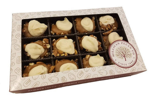 White Chocolate Pecan Caramillicans (Turtles) Gift Box 8 oz- 12 pieces - Chocolate.org