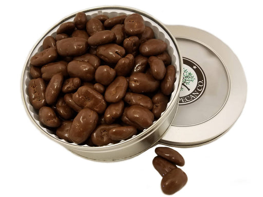 Chocolate Amaretto Pecans Gift Tin 16 oz - Chocolate.org