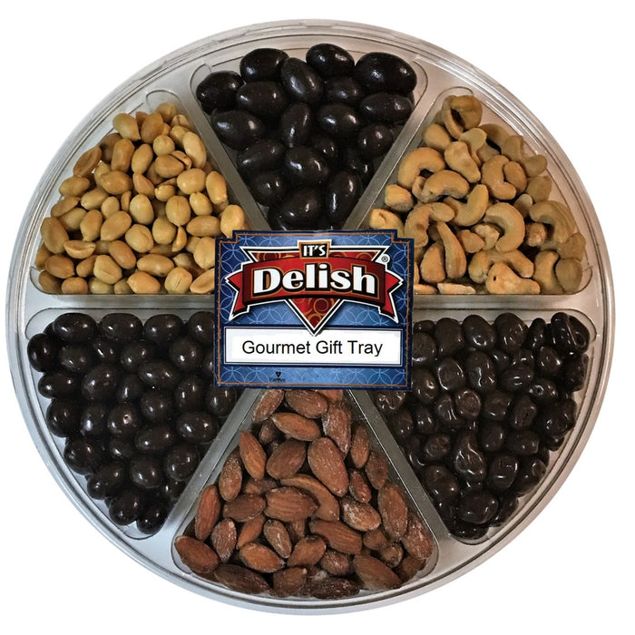 GOURMET ROASTED SALTED NUTS & PANNED CHOCOLATE VARIETY GIFT TRAY 6-SECTION - Chocolate.org