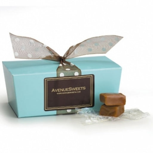 Pastel Blue Gift Box With Golden Caramels - Chocolate.org