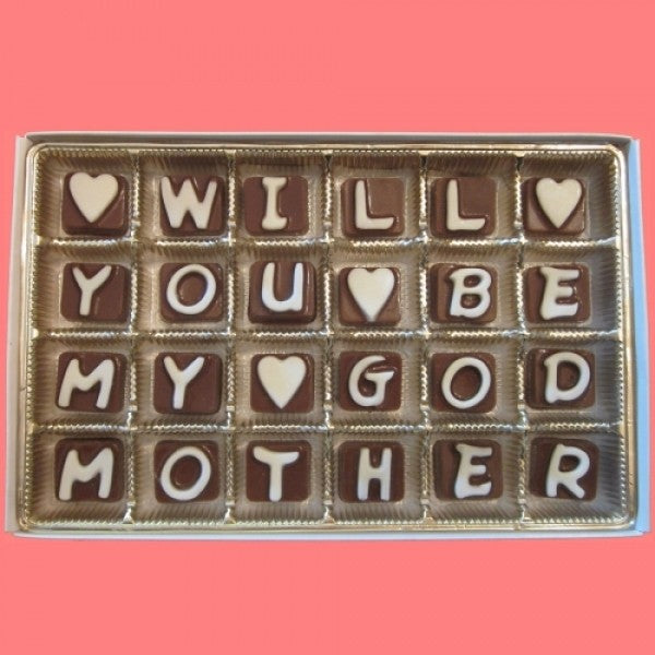 Will You Be My Godmother Cubic Chocolate Letters