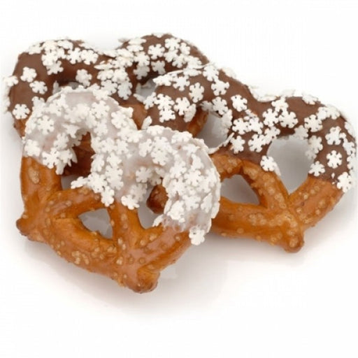 Snowflake Sprinkles Chocolate Pretzel Twists - Chocolate.org