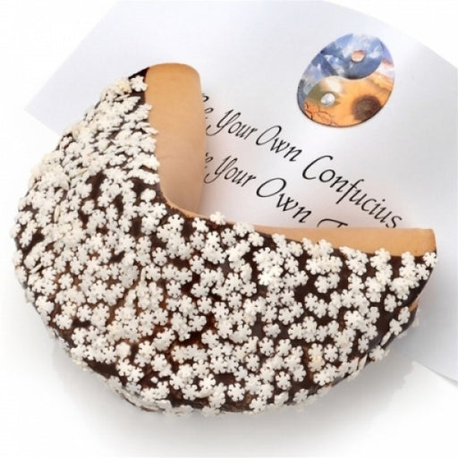 Snowflake Sprinkles Dark Chocolate Giant Fortune Cookie