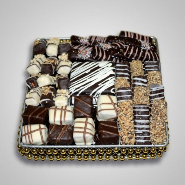 Square Metallic Tray Filled With Chocolates