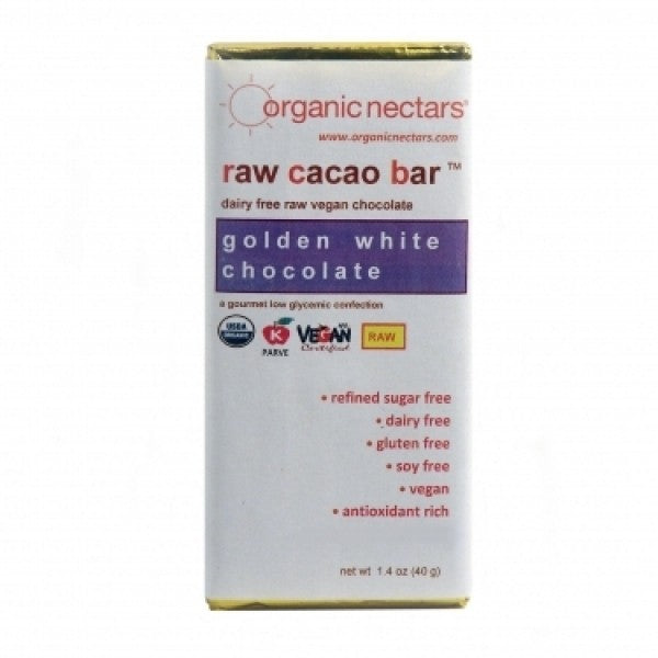 40g Golden White Raw Cacao Bar - Chocolate.org