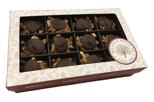 Dark Chocolate Caramillicans (Turtles) 8 oz Gift Box- 12 pieces - Chocolate.org