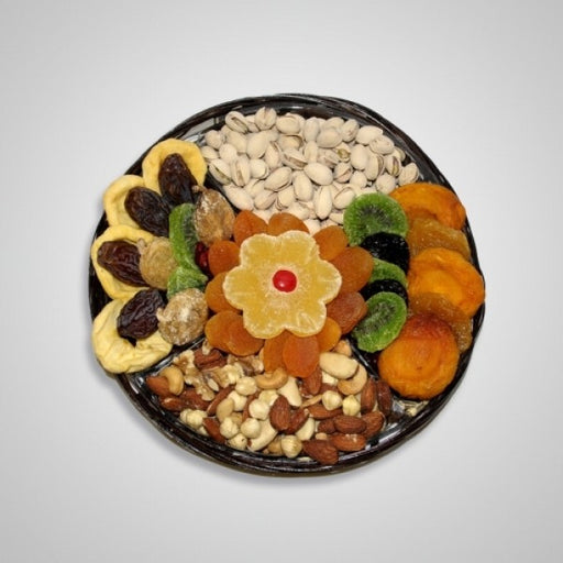 Tu B Shvat Four Section Small Tray Filled With Dry Fruits and Nuts - Chocolate.org