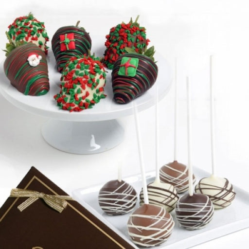 6 Christmas Chocolate Strawberries And 6 Cake Pops Gift Box