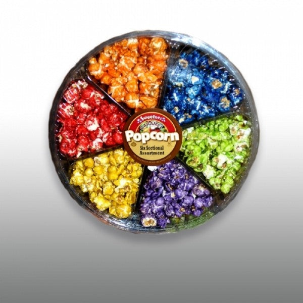 6 Section Rainbow Assorted Flavored Popcorn - Chocolate.org