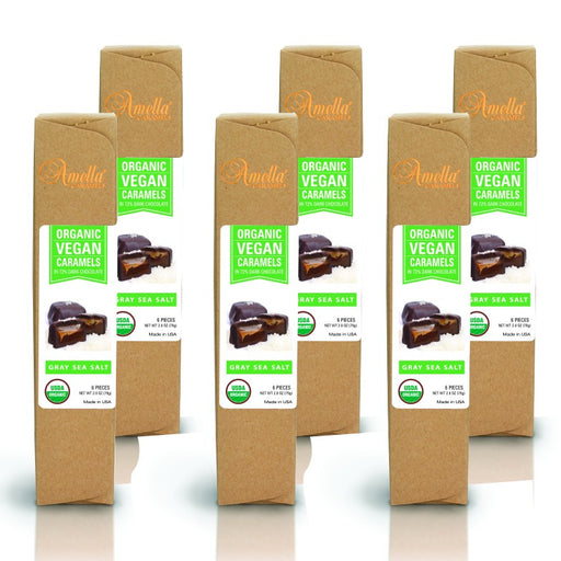 ORGANIC VEGAN GRAY SALT CARAMELS IN 72% DARK CHOCOLATE, 16.8 OUNCES (6 PACKS - 6 PCS/PACK)