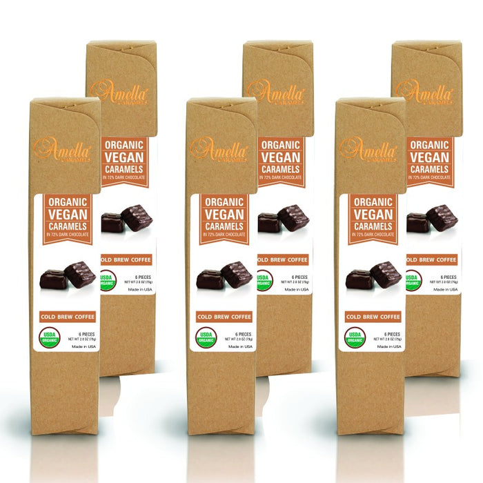 ORGANIC VEGAN COLD BREW COFFEE CARAMELS IN 72% DARK CHOCOLATE, 16.8 OUNCES (6 PACKS - 6 PCS/PACK)