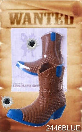 Chocolate Cowboy Boot - Blue